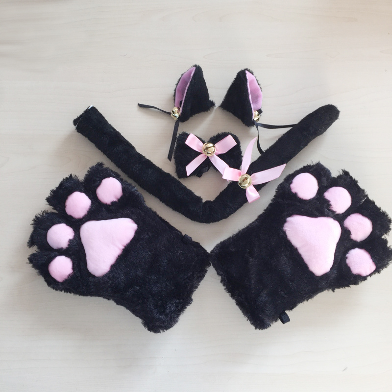 Costume Cat Ears Plush Paw Claw Gloves Tail