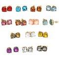 2016 шинни Площадь Блеск Серьги различные цвета Симпатичные Серьги Стержня для Женщин