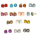 2016 shinny Square Glitter Stud Earrings various color Cute Stud Earrings for Women