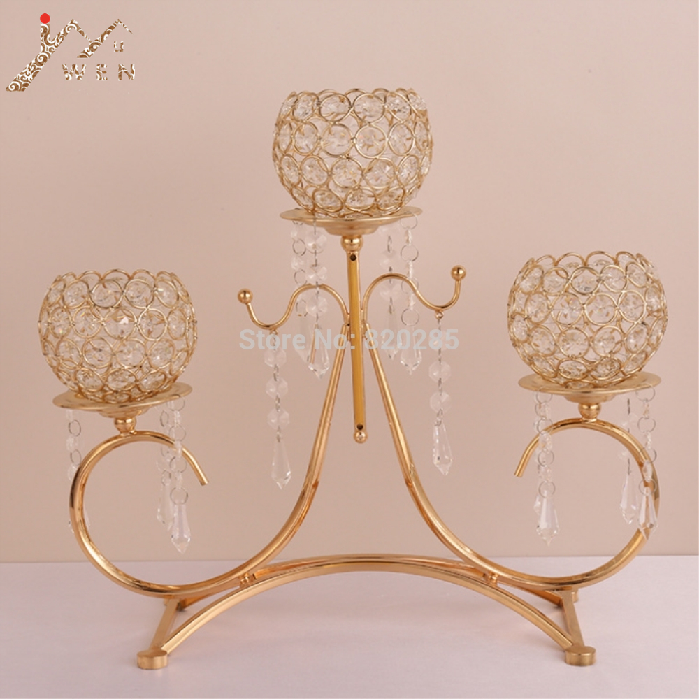 Crystal Candle Holders Gold 3-arms Metal Candelabra With Pendants Candlestick Table Home Decoration For Wedding Centerpiece image