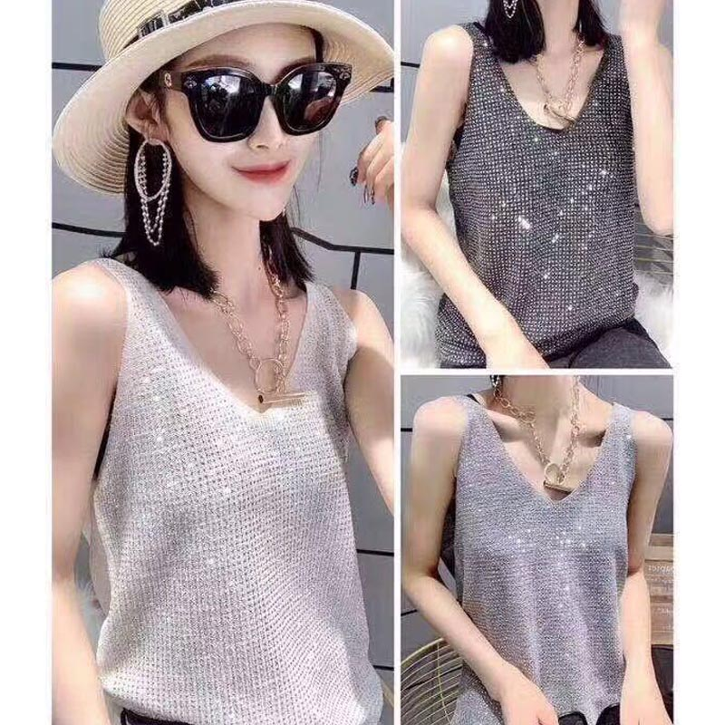 Summer   Tank     Top   Wild Camis Solid Color Knit   Tops   Women Camisole Sequin Decoration Female Camisole Fashion Sweet Camisoles