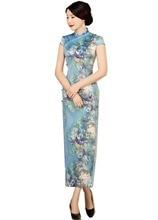 Shanghai Story Faux Silk Qipao dress Long Chinese Cheongsam dresses Short Sleeve Chinese Traditional Dress for Woman