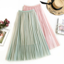 AcFirst Spring Pink Green Women Skirt High Waist Pleated Long Mid-Calf Plus Size Empire Casual A-Line Skirts