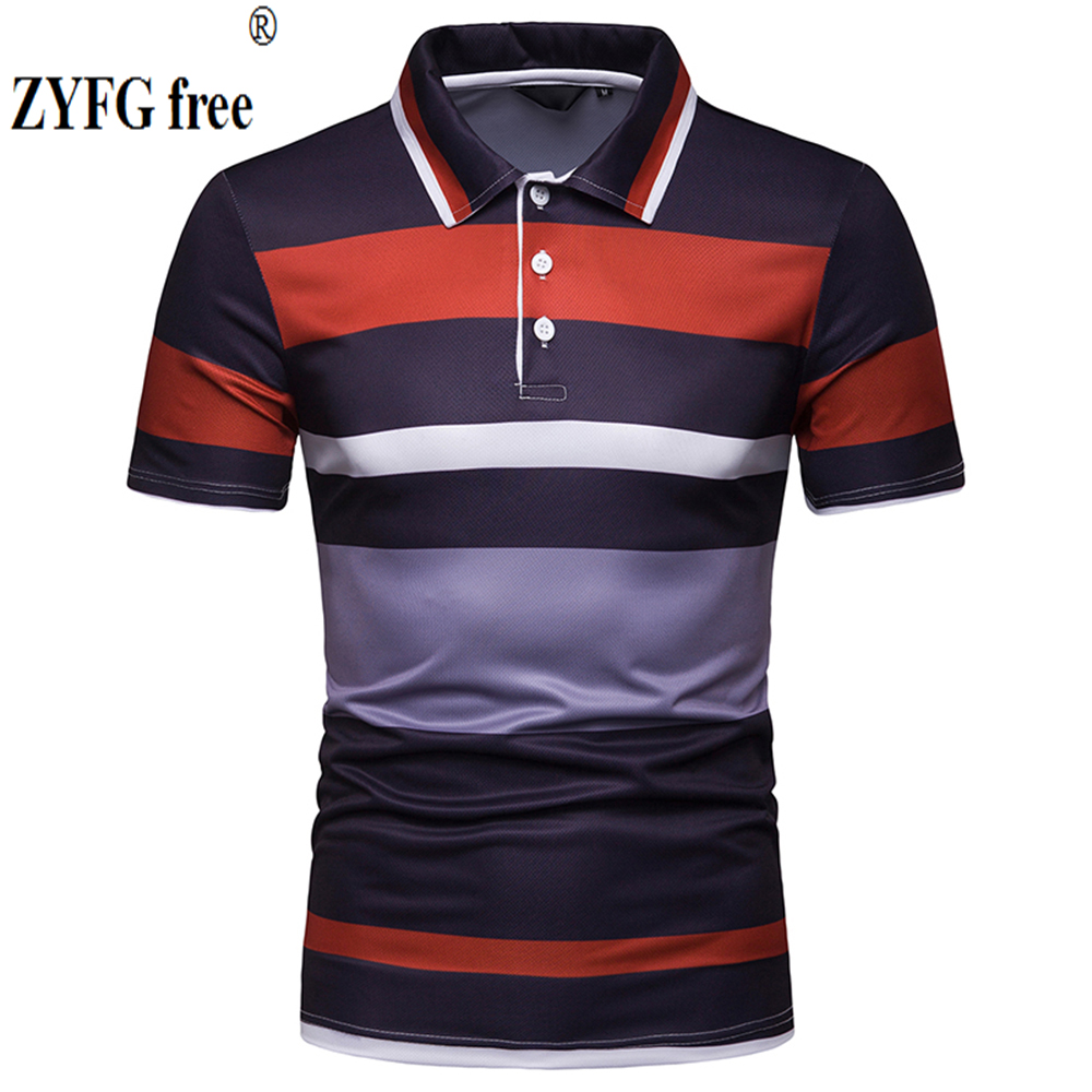 High quality men's straight short-sleeved   POLO   shirts cotton polyester blend stripes casual   Polo   youth popular tide men's clothi