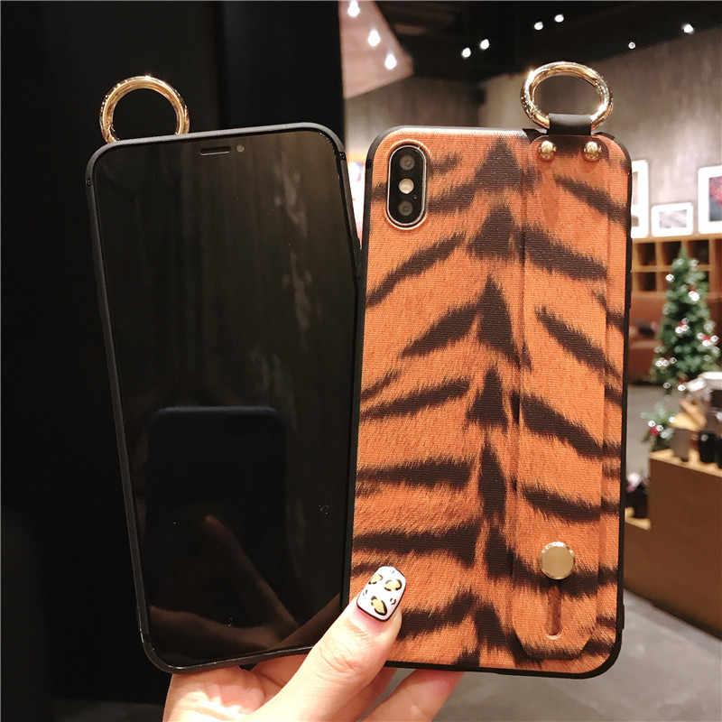 ISecret наручный ремешок чехол для телефона для iphone X Xs max XR 6 6s 7 8 plus Леопардовый принт Тигровая Кожа Зебра Мягкий держатель TPU чехол