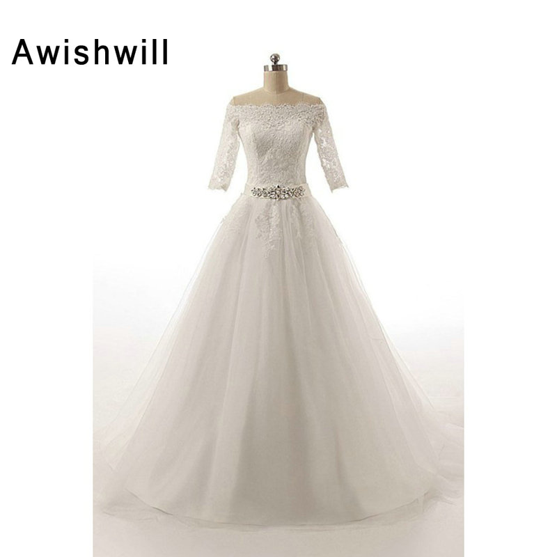 New Arrival Elegant Wedding Dress With 3/4 Sleeves Off The Shoulder Lace Appliques Tulle A Line Bridal Dress Wedding Gowns 2019