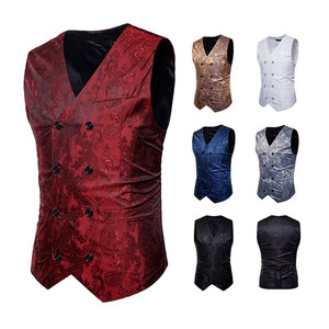 2019 White Blue Gold Gray Red Men Formal Barque Suits Vest Slim Waistcoat Prints Double Breasted Gilet Vests F1(China)