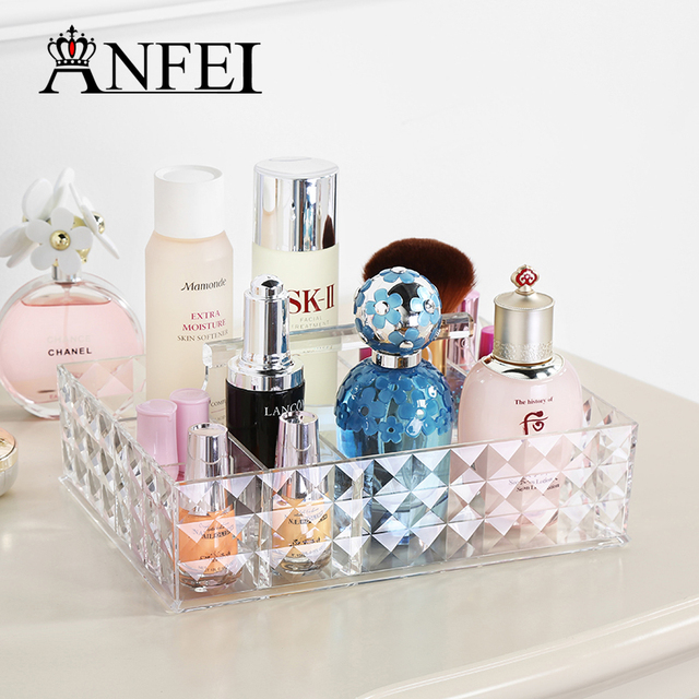 ANFEI New Diamond Pattern Perfume Cosmetic Box Transparent Color Touch Smooth Soft And Can Be Hand-Held Cosmetic Case C180