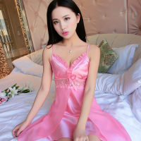 Women Satin Nightwear Plus Size Silk Nightgowns Night Dress 2019 Summer Deep V Neck Nightdress Sleepshirt Sexy Lingerie Babydoll