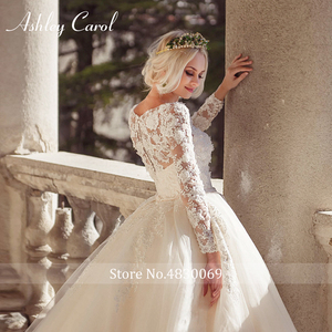 Image 4 - Ashley Carol Lace Ball Gown Wedding Dress 2020 Sexy Scoop Long Sleeve Beading Luxury Princess Bridal Dresses Vestido De Novia