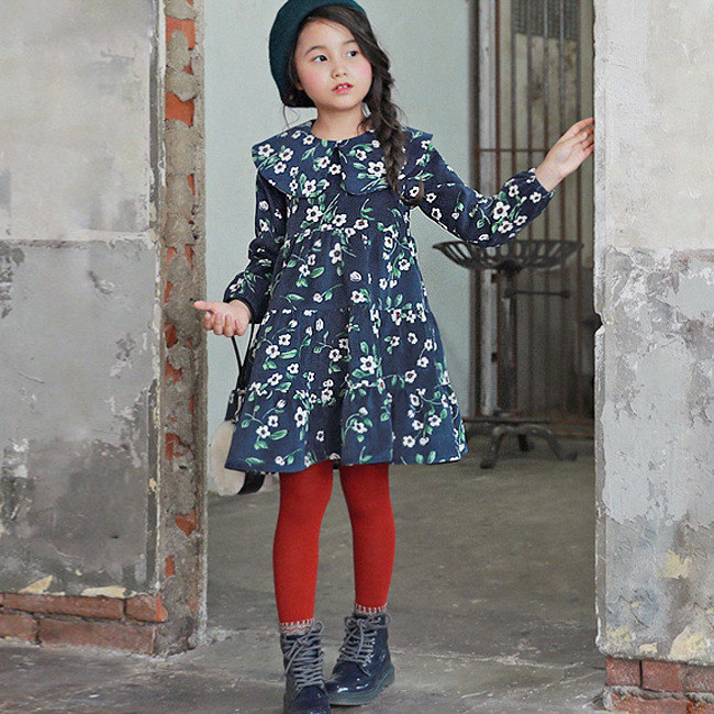New 2017 Baby Girls Autumn Dress Kids Princess Dress Fashion Children Florals Toddler Long Sleeve Dress,3-12Y,#2169 new autumn retail baby girls fashion