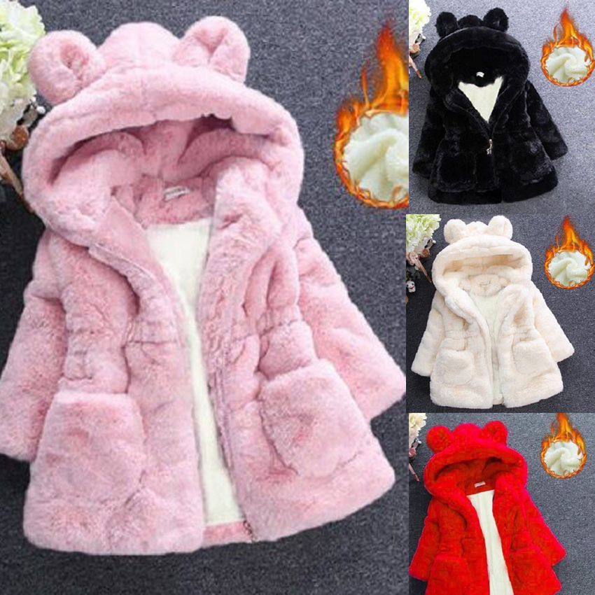 Benemaker Children Winter Faux Fur Fleece Jackets For Girls Clothing Parkas Warm Coats Overalls Hooded Baby Kids Outerwear JH137 image