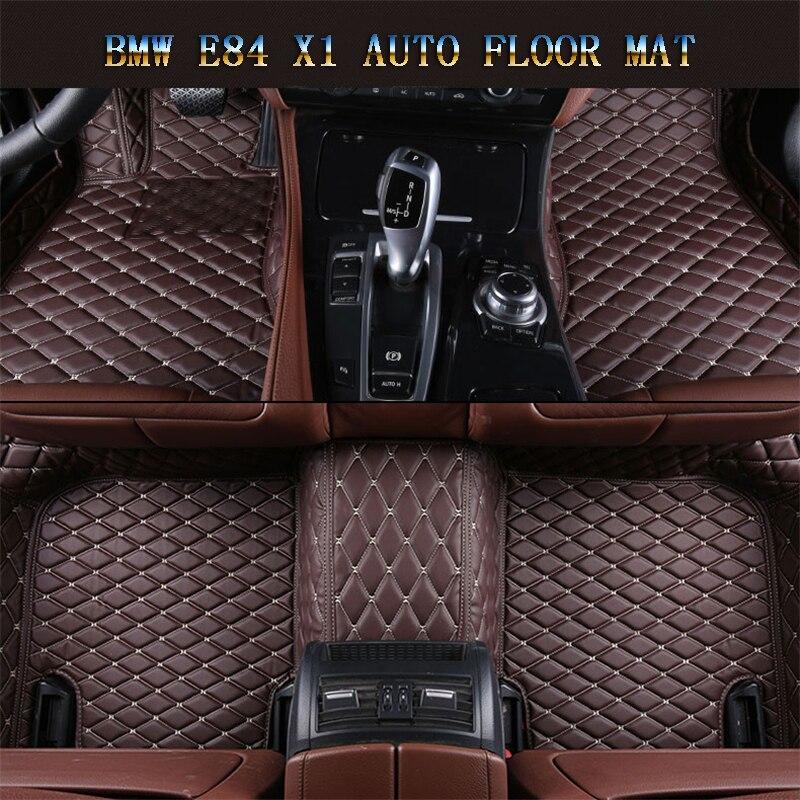 Tapis de sol de voiture pour BMW E84 X1 2009-2016 tapis de sol tapis de marche broderie en cuir tapis intérieur de voiture tapis robuste