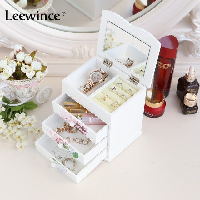 Leewince Custom Wooden Jewelry Makeup Organizer E0 E1 Mdf Storage Box Beautiful Design For