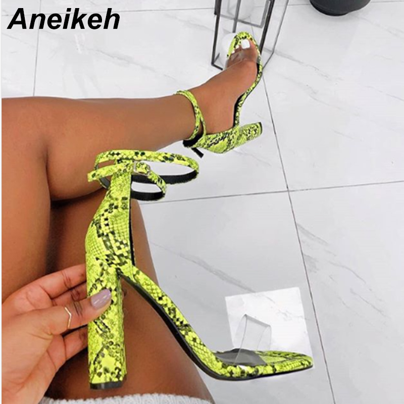 Aneikeh 2019 Summer PU Sandals Women Transparent Square High Heels Sandals Buckle Daily Contracted Stripe Green White Size35-40Aneikeh 2019 Summer PU Sandals Women Transparent Square High Heels Sandals Buckle Daily Contracted Stripe Green White Size35-40
