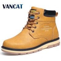 VANCAT Super Warm Men S Winter Pu Leather Ankle Boots Men Autumn Waterproof Snow Boots Leisure