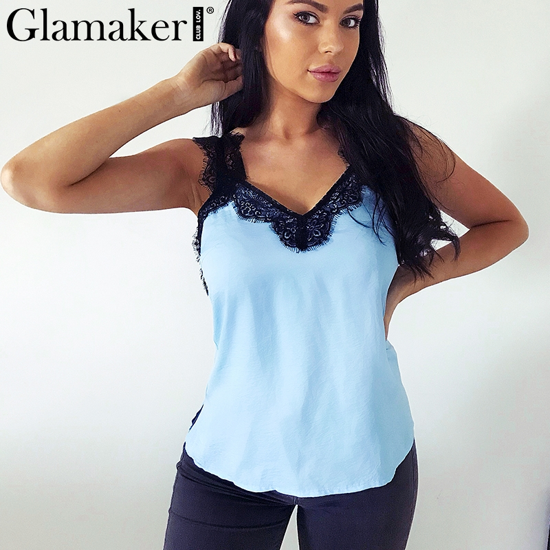 Glamaker Streetwear satin lace splice camis   top   white women Sexy v neck transparent   top   2019 Summer female cropped   tank     top   club