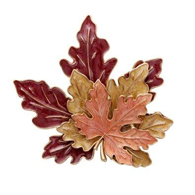 Senfai Antique Golden Tone Metal Zinc Alloy Red Yellow Orange Enamel Maple Leaf Fashion Brooch Pins Best Gifts For Mother