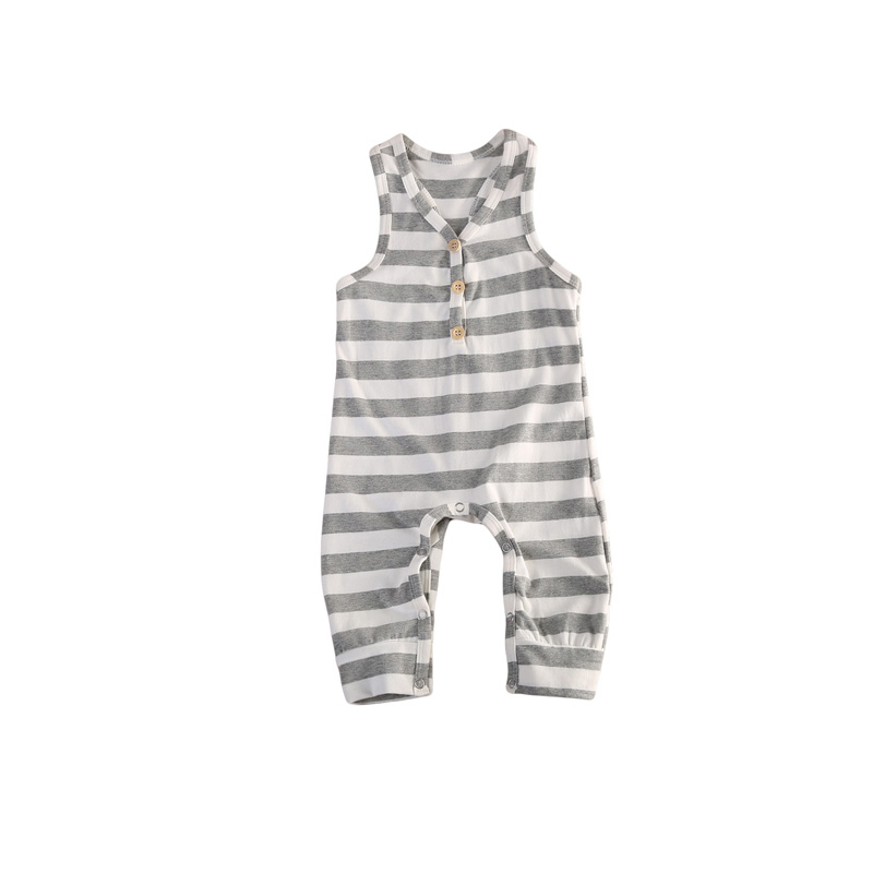 0-24M Newborn Baby Boy Girls Sleeveless V-Neck Striped Gray Cotton Romper Jumpsuit Playsuit Outfit Summer Sunsuit Baby Clothes infant toddler kids baby girls summer outfit cotton striped sleeveless tops dress floral short pants girls clothes sunsuit 0 4y