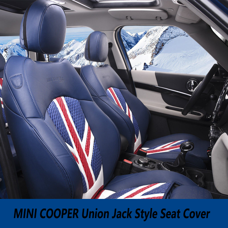 Brand New Imported PVC Material Union Jack Style Black and Rear Seat Cover For mini cooper F56 F55 F54 F60 R60 car seat