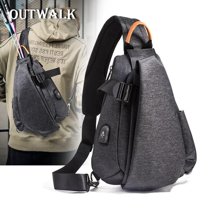 OUTWALK Male Shoulder Bags USB Charging Crossbody Bags Men Anti Theft Chest  Bag School Summer Short 223a2239f0dd9