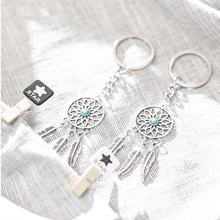 2pcs Car Key Simple Fashion With Green Bag pendant Rings Buckle Silver Feather Tassel chain Auto products Accessorie