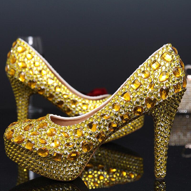Fashion 10cm Wedding Bridal Shoes High Heels Gold Color Banquet Dress Shoes Pageant Event Shoes Rhinestone Women Prom pumps