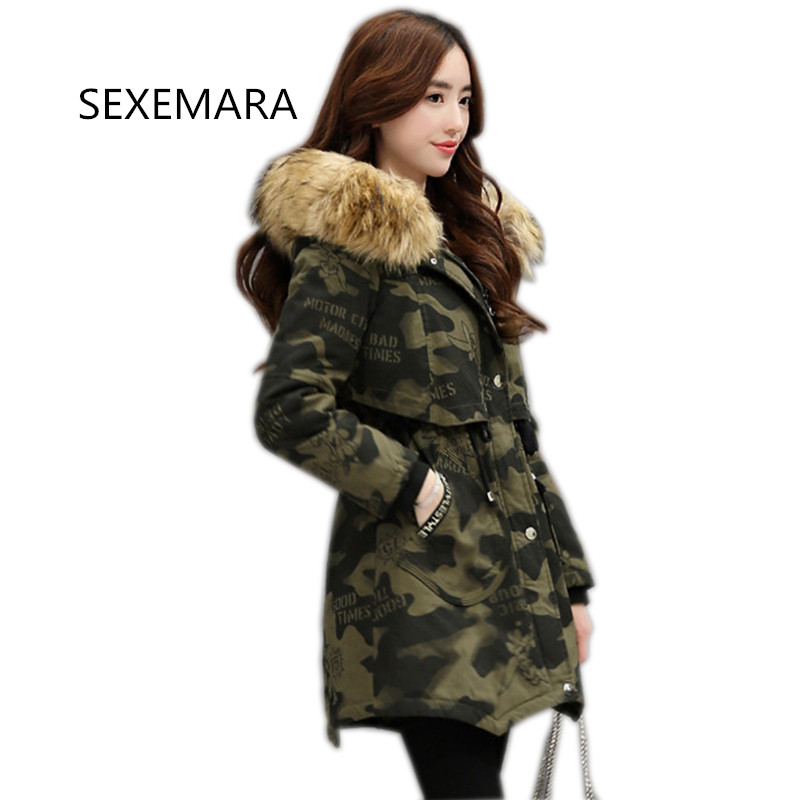 Women Winter Cotton jacket 2017 New Fur collar Hooded Camouflage outwear Long section Thick warm Parka Overcoat female YM070 цены онлайн