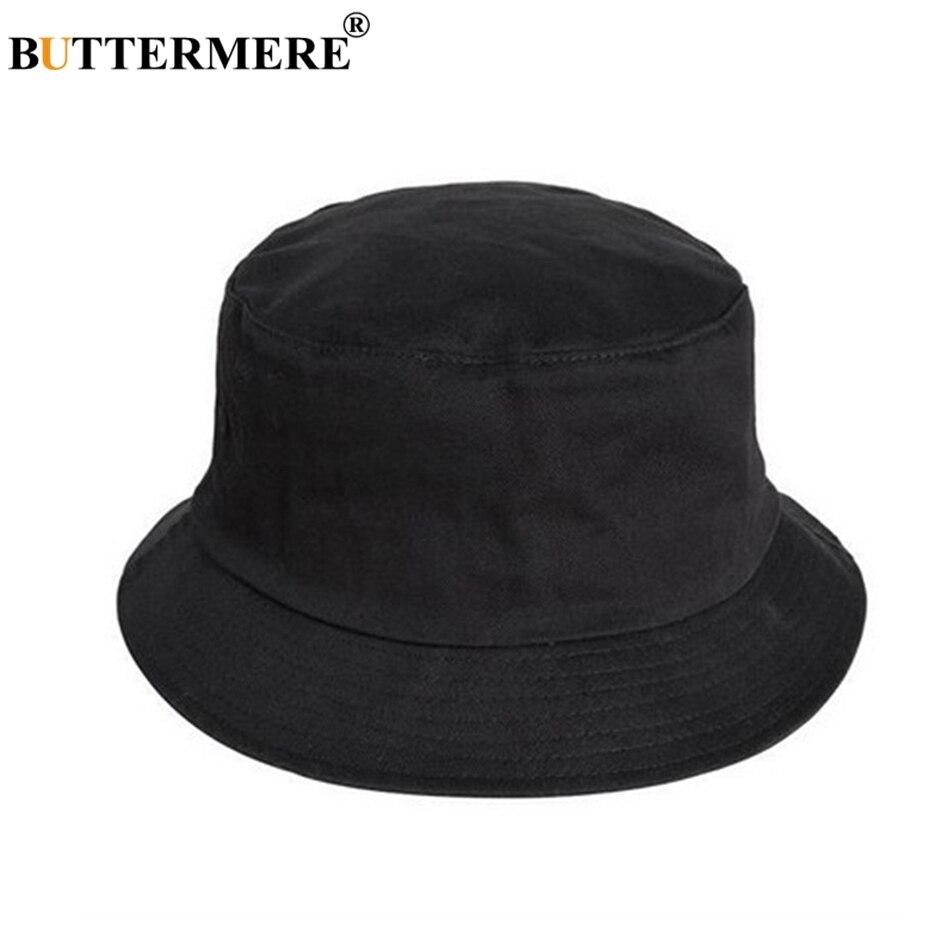 BUTTERMERE Mens Cappello Della Benna di Cotone Femminile Casual Nero  Pescatore Cappelli Alla Moda Del Progettista 330822c0f905