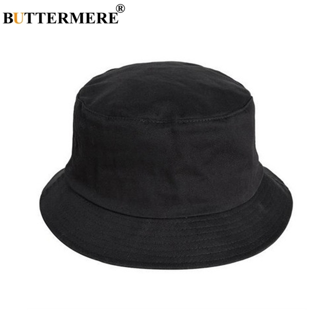 baa766cc621 BUTTERMERE Mens Bucket Hat Cotton Female Casual Black Fisherman Hats  Stylish Designer Spring Summer Packable Beach Fishing Cap