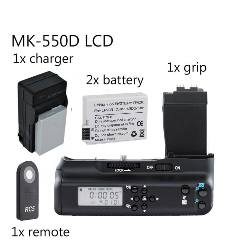 Meike MK-550DL poignée de batterie avec lcd pour Canon 550D 600D 650D 700D BG-E8 + 2x batterie de LP-E8
