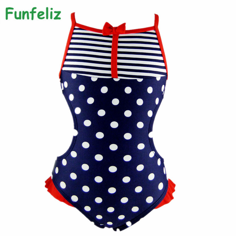 cb33212d7 2016 Girls Swimwear one-piece swimsuit for Kids Cute Dot Lovely Girl  Bathing Suit 3T-8T Children Clothing
