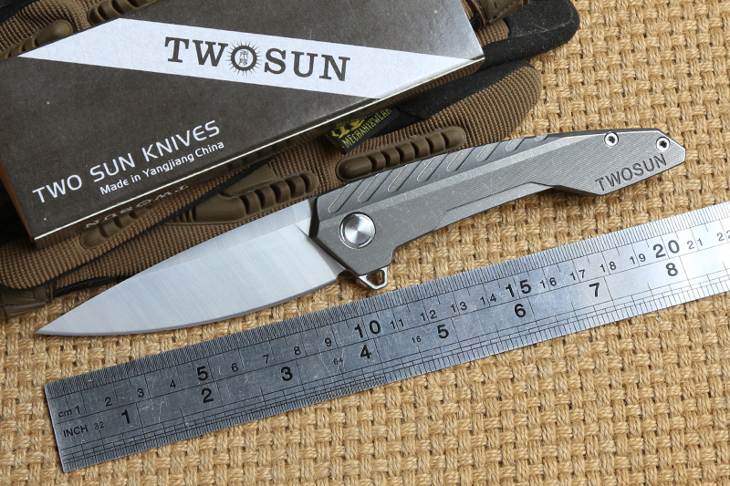 TWO SUN TS05 Flipper ball brearing folding knife D2 blade camping hunting titanium outdoor Survival Pocket knives EDC Tools two sun ts38 d2 blade tactical ball brearing folding knife titanium camping hunting pocket knives outdoor survival edc tools