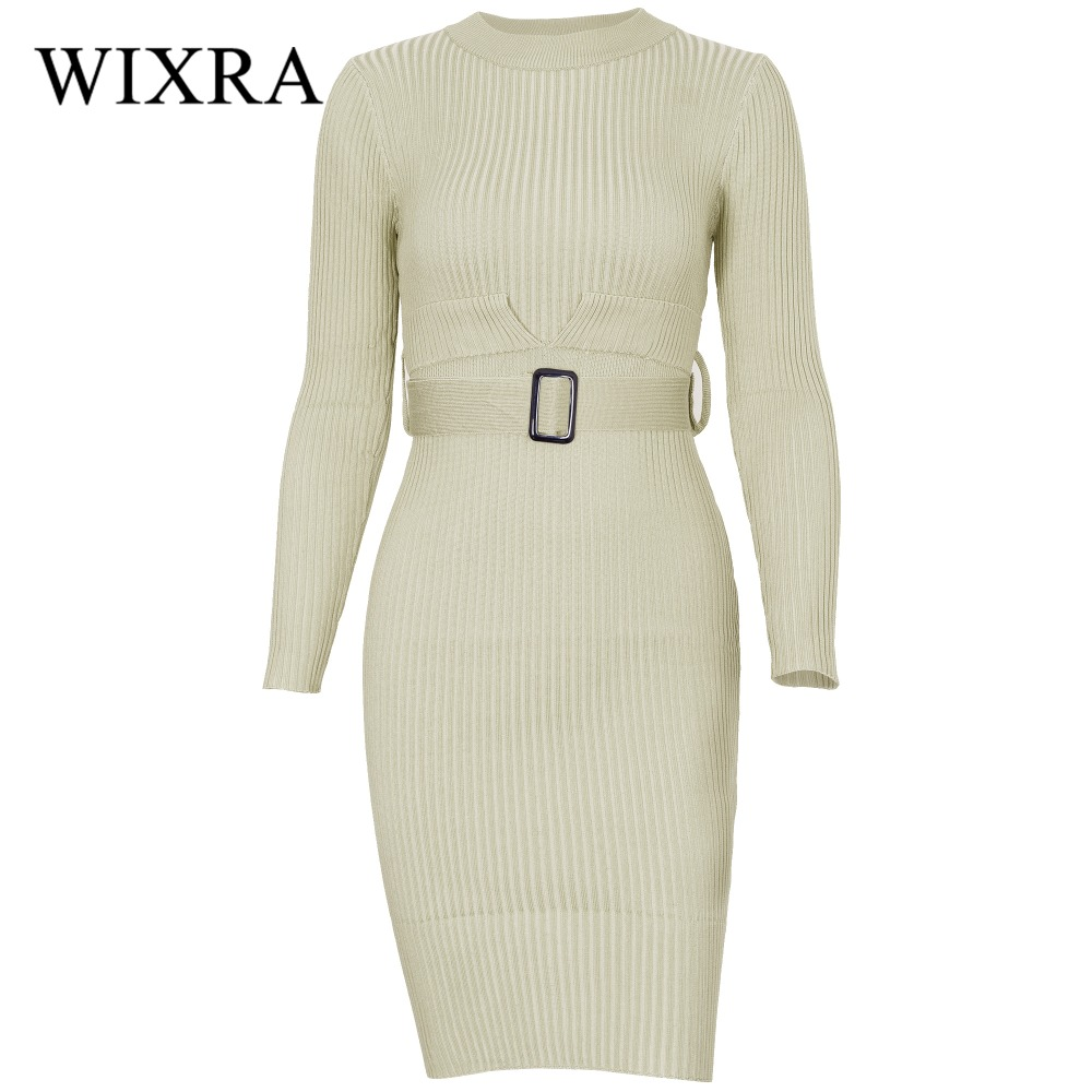 Wixra Warm and Charm Women 2017 Autumn Winter Long Sleeve O Neck Slim Bodycon Knitted Sweater Midi Split Sheath Dress With Belt long sleeve bodycon dress with slits