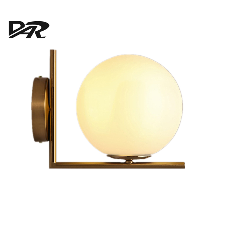 Nordic Art Design D20cm White Glass Ball Wall Light Wall Mounted Gold Iron Body Bedroom Bedside Lamp Inculde E14 LED Bulb Lampe vertu signature s design white gold реплика москва