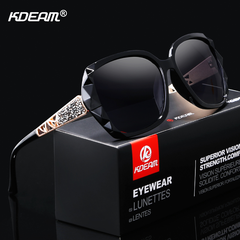 KDEAM Shiny For Women Sunglasses Polarized Butterfly Diamond Designer Sun Glasses Female UV-protected And Box