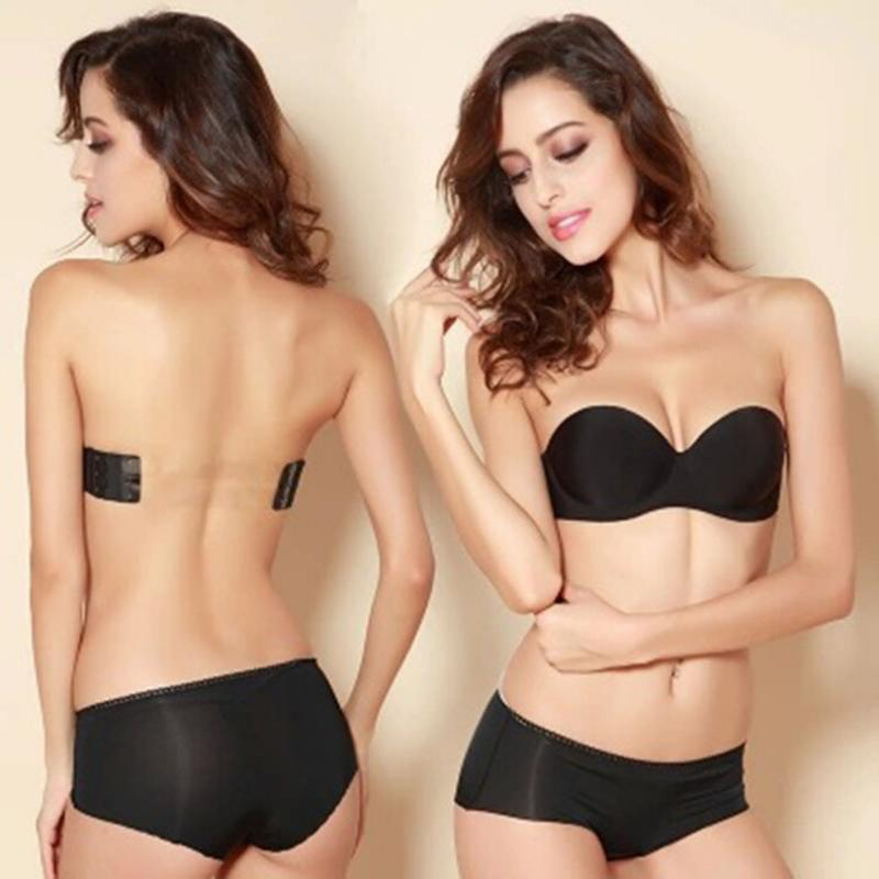 d5629c2a2f Detail Feedback Questions about New Arrival Black Invisible Blade Strapless  Tape Bras Sexy Push Up 3 Breasted Bras Without Underwears on Aliexpress.com  ...