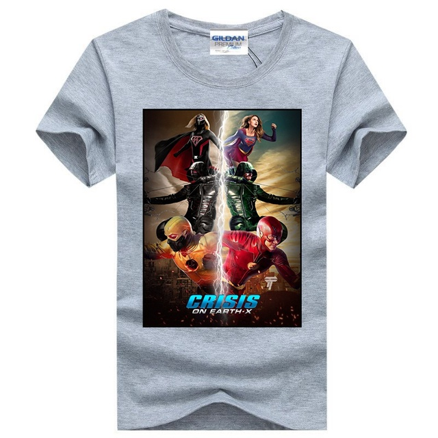 6ef530bd2 New Crisis on Earth X The Flash Arrow Supergirl Hero Men 3D Print T-shirt  Transfer Cotton Unsex Top Suit Homme Drop Shipping