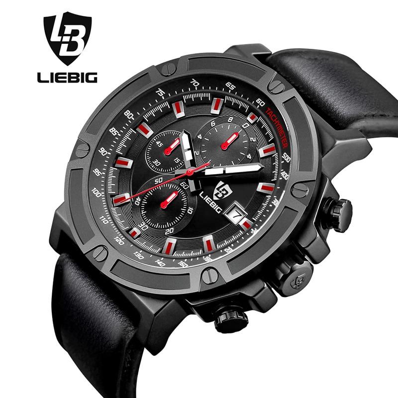 ФОТО Luxury Brand Men Watch Big Dial Quartz Wristwatch Sports Watches Waterproof Designer Genuine Leather Strap Clock LIEBIG 1014