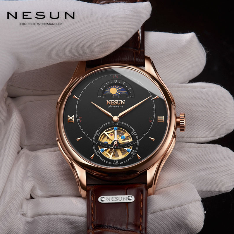 Nesun Men's Skeleton Mechanical Watch Switzerland Luxury Brand Moon Phase Waterproof Sport Automatic Watch Leather Relogio Male