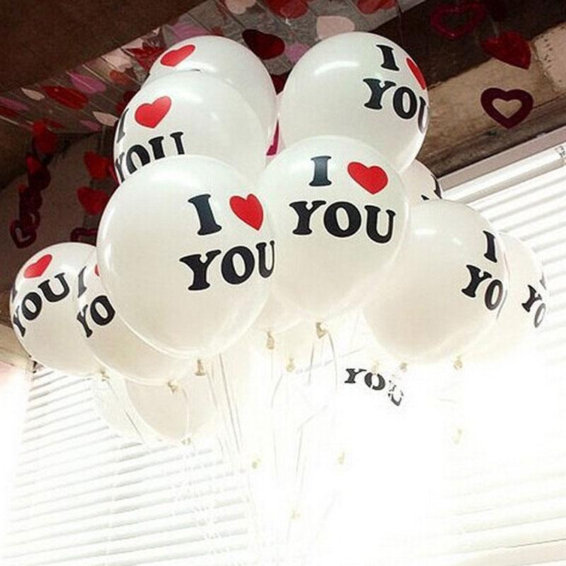 100pcs/lot I LOVE YOU Heart Shape Balloons Wedding Valentine's Day Birthday Ball