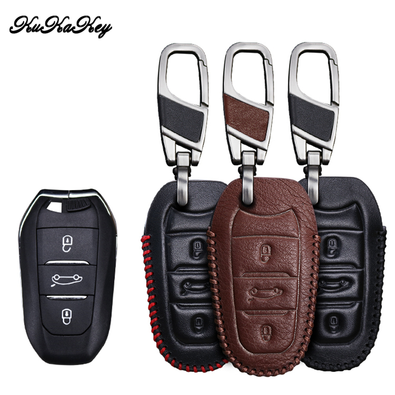 KUKAKEY Genuine leather Car Key Case Key Chain For Citroen C5 C6 C4L C3XR DS 3 4 5 7 Key Cover Holder Car Styling Accessories