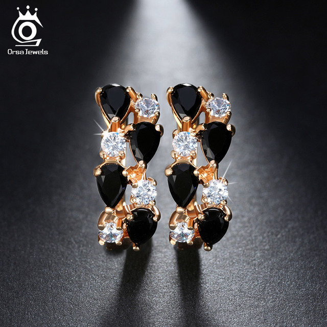 Orsa Jewls Luxury Charming Cz Mixed Black Stud Earring Gold Color Fashion Earrings For