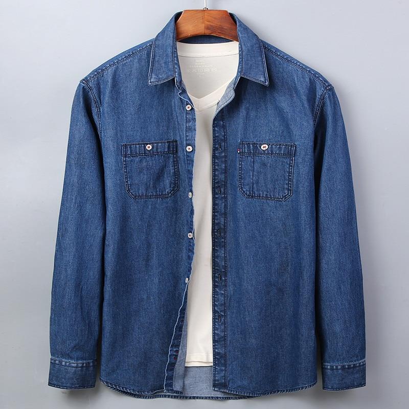 Casual Denim Shirt men Long Sleeve Cotton regular Fit denim Jeans shirt western Fashion Man's Clothes Easy Care 2020 Comfortable 5