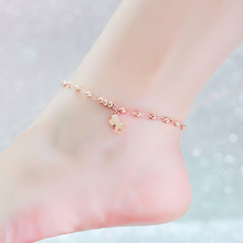 Top Quality 18KGP Rose Titanium Steel Cute Colt Anklet Women Fashion Brand Jewelry Free Shipping (GA033)