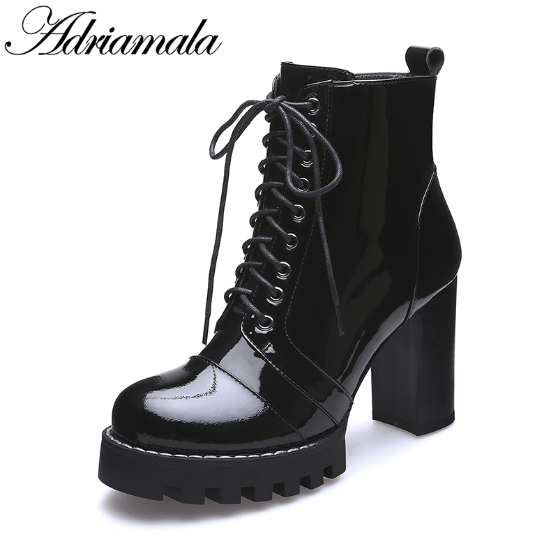 033e117507df 2018 Cow Patent Leather Lace Up Sexy High Heels Party Dress Ankle Boots For  Women Round Toe Leather Lady Platform Boot Adriamala - aliexpress.com -  imall. ...