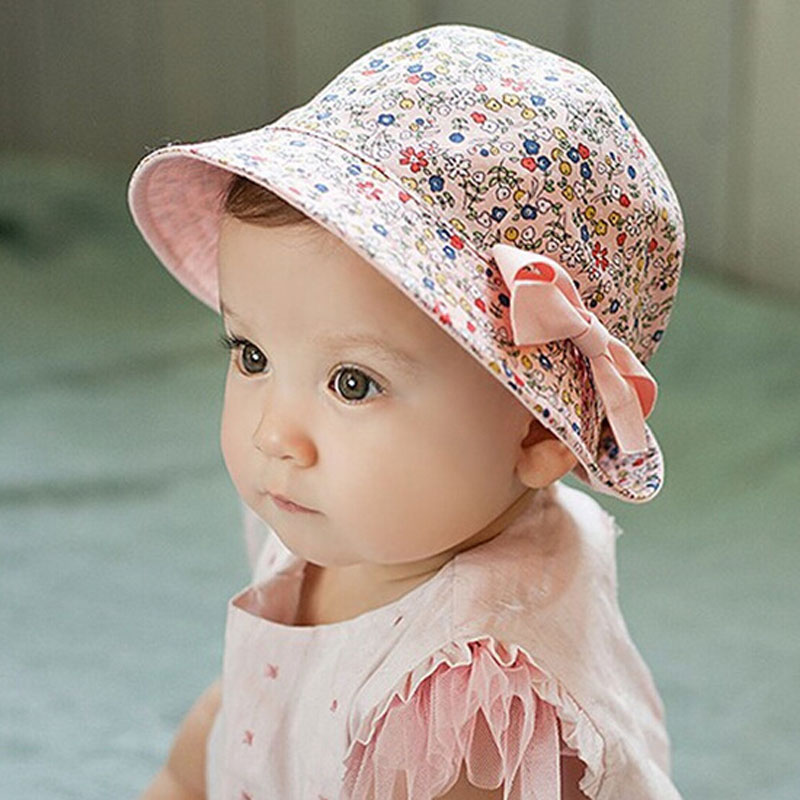 Baby Soft Cotton Outdoor Bucket Hat Floral & Solid color Double Use Korean Infant Sun Beach Cap for Newborn Girls Boys 1pc BS097