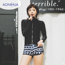 Aonihua Two Piece Swimsuit For Women Long Sleeve Coat Sexy Vest Sport With Shorts Swimwear Girls