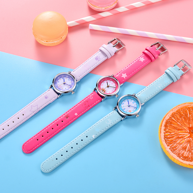 KEZZI Lovely Children Watches Cats Puppy Numerals Dial Kids Watch Star Printing Strap Cartoon Students Quartz Wristwatch Clock