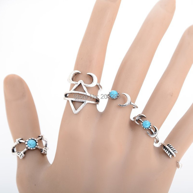 6Pcs/Lot Indian Silver Plated Rings Set Summer Turquoise Bague Anel Top Anelli Bijoux Brand anillos mujer Ring For Women Anillos